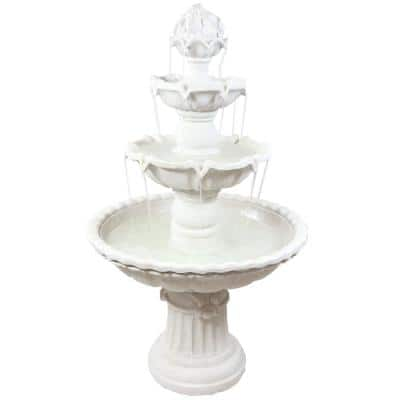 52 in. 4-Tier White Water Fountain with Fruit Top