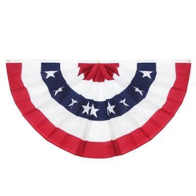 1.5 ft. x 3 ft. USA Pleated Half Fan Flag Bunting Patriotic Stars and Stripes Banner with Canvas Header Brass Grommets