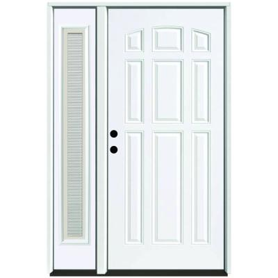 51 in. x 80 in. 9-Panel Primed White Right-Hand Steel Prehung Front Door with 12 in. Mini Blind Sidelite 4 in. Wall