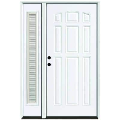 53 in. x 80 in. 9-Panel Primed White Right-Hand Steel Prehung Front Door with 14 in. Mini Blind Sidelite 6 in. Wall