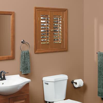 Oak 2-1/4 in. Plantation Faux Wood Interior Shutter 39 to 41 in. W x 24 in. L