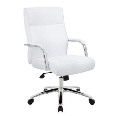 27 in. Width Contemporary White Vinyl Executive Chair with Swivel Seat