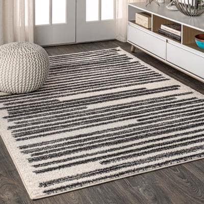 Khalil Modern Berber Stripe Cream/Black 8 ft. x 10 ft. Area Rug
