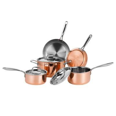 8-Piece Tri-Ply Copper Non-Stick Cookware Set