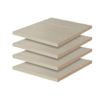 14 in. D x 12 in. W Rustic Grey Wood Shelf (4-Pack)