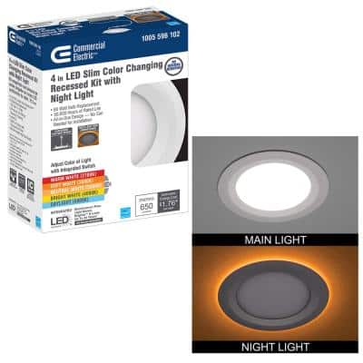 Ultra Slim 4 in. Canless Selectable CCT Integrated LED Recessed Light Trim with Night Light Feature 650 Lumens