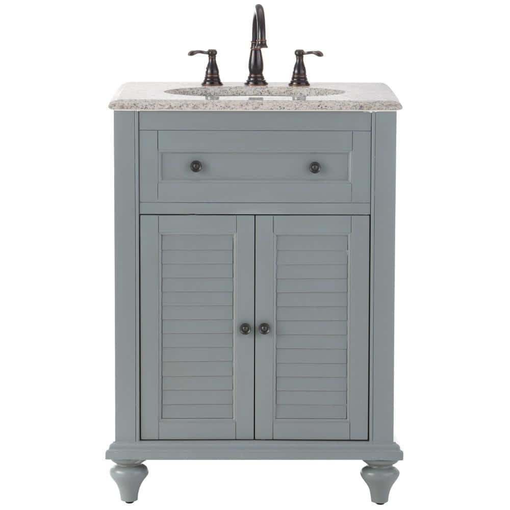 Home Decorators Collection Hamilton Shutter 25 In W X 22 In D Bath Vanity In Grey With Granite Vanity Top In Grey 10806 Vs25h Gr The Home Depot