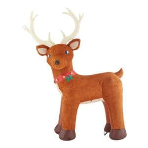 10.5 ft Pre-Lit LED Giant-Sized Fuzzy Standing Reindeer Christmas Inflatable