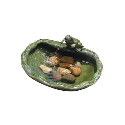 Glazed Green Ceramic Solar Frog Fountain