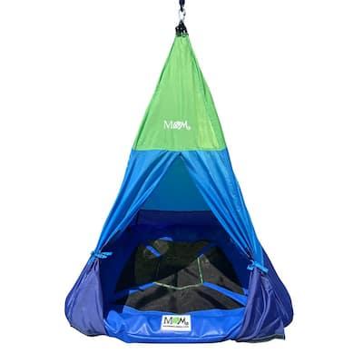 Outdoor Color Block Teepee Tent Mat Platform Swing