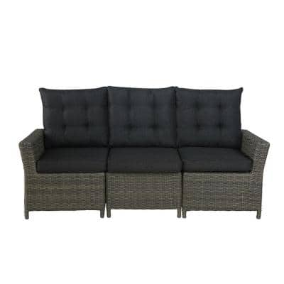 Asti All-Weather Wicker 3-Seat Reclining Sofa with Cushions