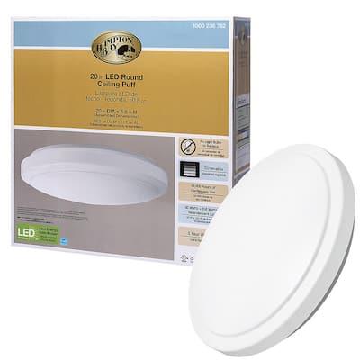 Dimmable 20 in. Round White LED Flush Mount Ceiling Light Fixture 2200 Lumens 4000K Bright White