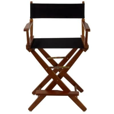 24 in. Extra-Wide Mission Oak Frame/ Black Canvas New, Solid Wood Folding Chair (Set of 1)