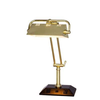 24 in. Adjustable Satin Brass Tech Table Lamp with 2 Base Outlets