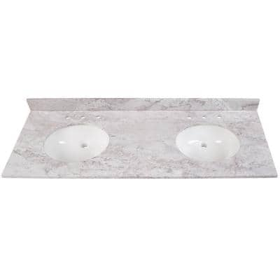 Home Decorators Collection 61 In W X 22 In D Stone Effects Double Sink Vanity Top In Carrera With White Sinks Seb6122 Ce The Home Depot