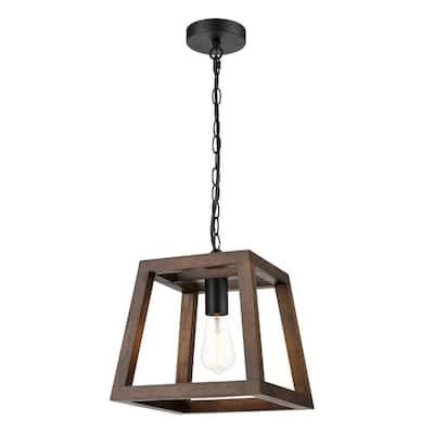 Bristol 1-Light Walnut Pendant with Wood Shade