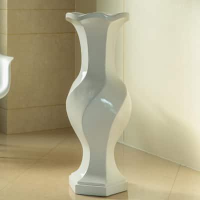 39.8 in. White Large Twisted Trumpet Modern Fiberglass Freestanding Flower Vase