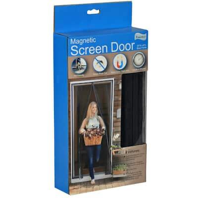 36 in. x 82 in. Black Fiberglass Magnetic Door Window Screen