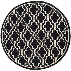 Cambridge Black/Ivory 6 ft. x 6 ft. Round Interlace Geometric Area Rug