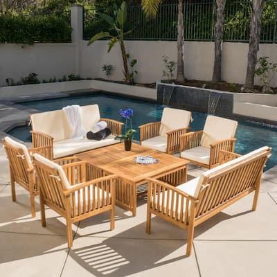 Thalia Brown 8-Piece Wood Patio Conversation Set with Cream Cushions
