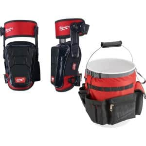 High Performance Stabilizing Shell Knee Pad with Bucket Organizer Tool Bag