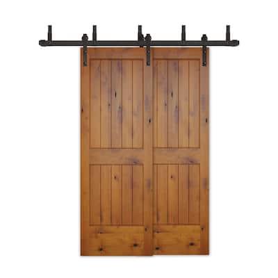 48in.x80in.Bypass Rustic Pref 2-PNL V-Groove Solid Core Knotty Alder Wood Sliding Barn Door with Bronze HardwareKit