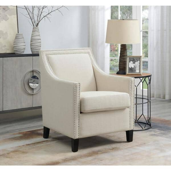 Beige Upholstered Carmen Accent Chair, Home Goods Chairs For Living Room