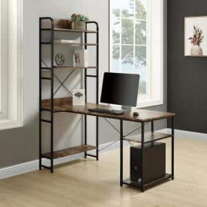 55 in. Rectangular Walnut Computer Desk with Hutch