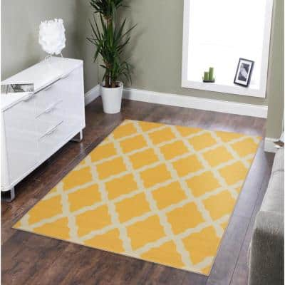Clifton Collection Moroccan Trellis Design Yellow 5 ft. x 7 ft. Area Rug
