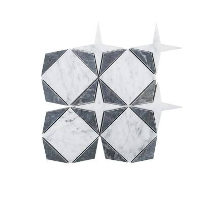Century Star White 9 in. x 9 in. Geometic Honed Marble Wall and Floor Mosaic Tile (0.562 sq. ft./Each)