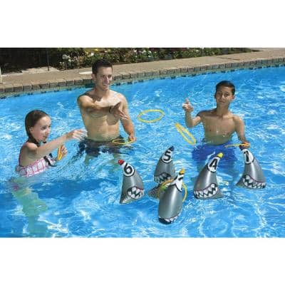 Multi-Color Shark Zone Ring Toss Outdoor Game (Includes 6-Rings - Fun for Land or Water)