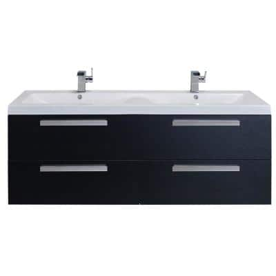 Surf 57 in. W x 19 in. D x 24 in. H Vanity in Black-Wood with Acrylic Top in White with White Basin