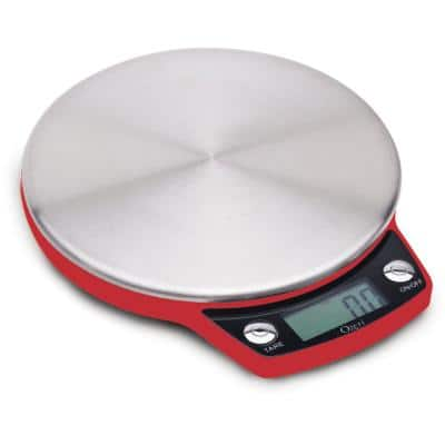 Precision Pro Red Stainless-Steel Digital Kitchen Scale with Oversized Weighing Platform