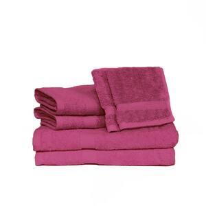 Deluxe 6-Piece Magenta Solid Cotton Bath Towel Set