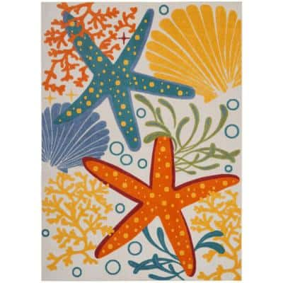 Aloha Multicolor 7 ft. 10 in. x 10 ft. 6 in. Floral Modern Indoor/Outdoor Area Rug