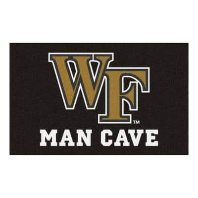 NCAA Wake Forest University Black Man Cave 5 ft. x 8 ft. Area Rug
