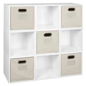39 in. H x 39 in. W x 13 in. D White Wood 9-Cube Storage Organizer