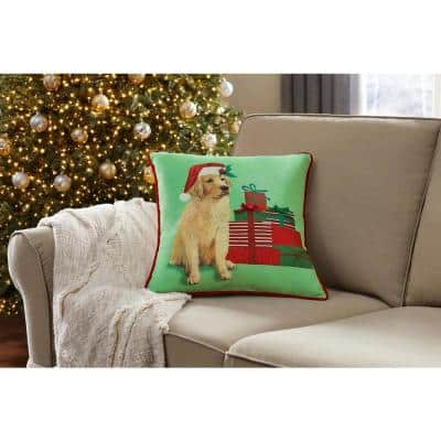 18 in. Holiday Puppy Square Pillow