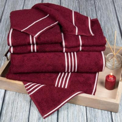 Rio 8-Piece Red Solid Cotton Bath Towel Set