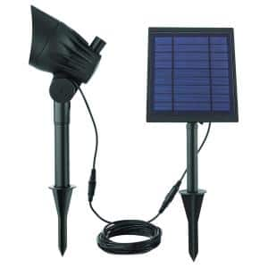 Solar Black LED 150-300 Lumen High-Low Metal Spotlight