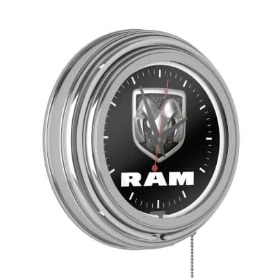 Neon Wall Clock Logo Black and White with Pull Chain-Pub Garage or Man Cave Accessories Double Rung Analog Clock
