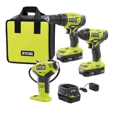 ONE+ 18-Volt Cordless 2-Tool Combo Kit with Digital Inflator, (2) Batteries, Charger, and Bag