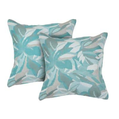 Dewey Spa Square Outdoor Accent Throw Pillow (Set of 2)