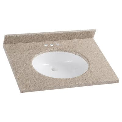 31 in. W x 22 in. D Solid Surface Vanity Top in Caramel with White Sink