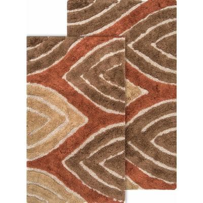 Davenport 21 in. x 34 in. and 24 in. x 40 in. 2-Piece Bath Rug Set in Adobe