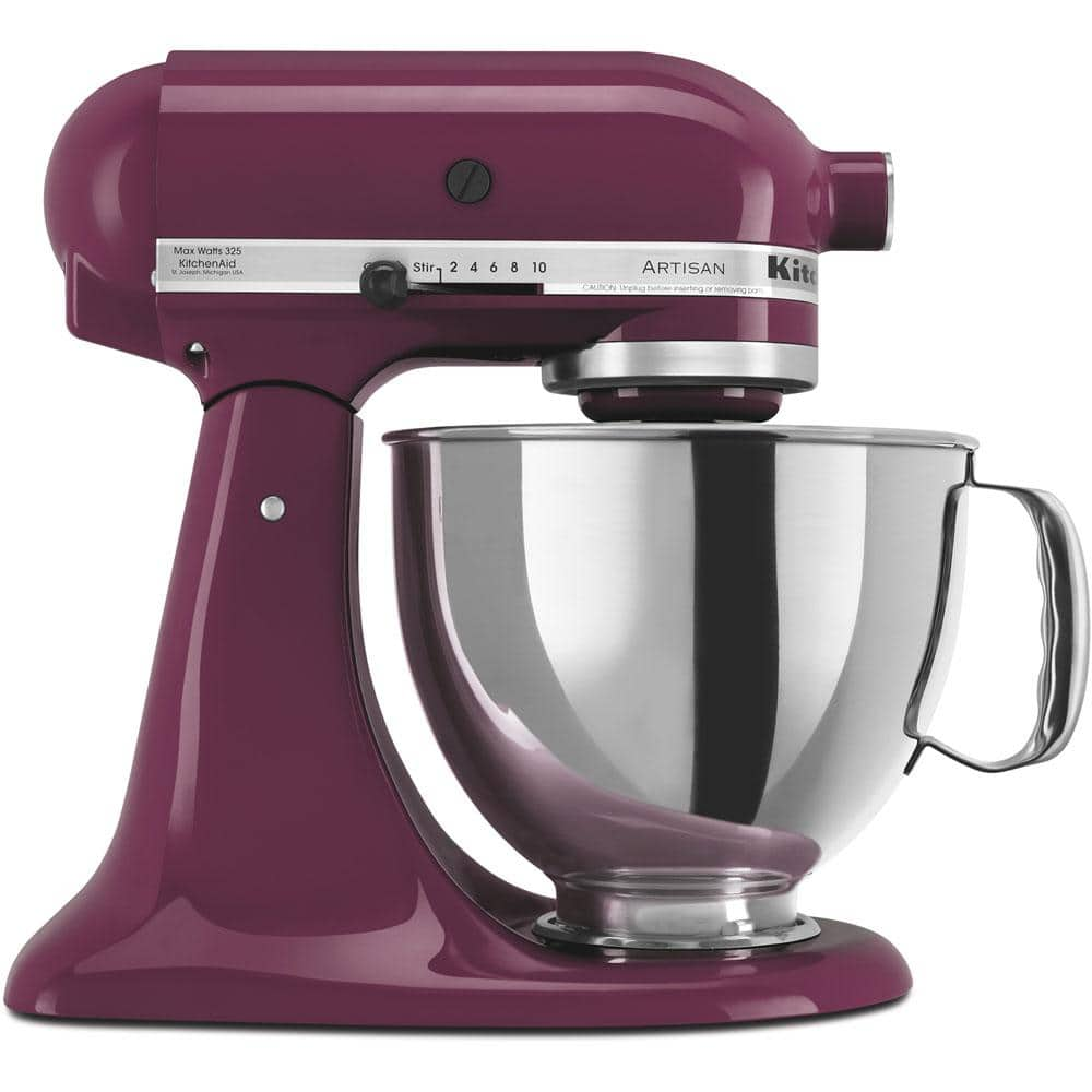 Reviews For Kitchenaid Artisan 5 Qt 10 Speed Boysenberry Stand Mixer With Flat Beater 6 Wire Whip And Dough Hook Attachments Ksm150psby The Home Depot
