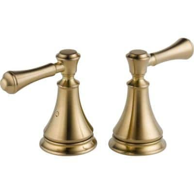 Pair of Cassidy Metal Lever Handles for Roman Tub Faucet in Champagne Bronze