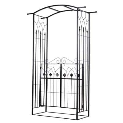 84 in. Metal Garden Arch/Trellis with Two 4-Leaf Clover Doors, Perfect for Your Vine Garden, Weddings and Social Events