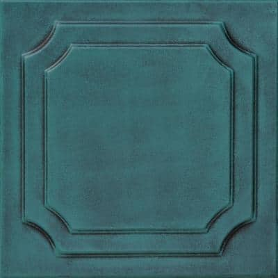 Virginian 1.6 ft. x 1.6 ft. Glue Up Foam Ceiling Tile in Antique Green