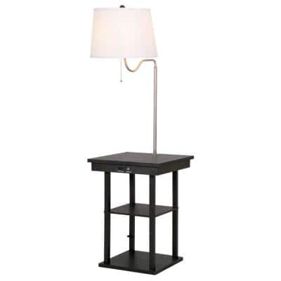 57 in. Black and White Outdoor Table Swing Arm Floor Lamp with 2 USB Ports